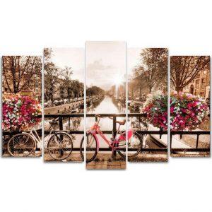 Картина модульная Велосипеды на мосту
