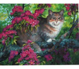 Картина по номерам Кошка на дереве 40*30