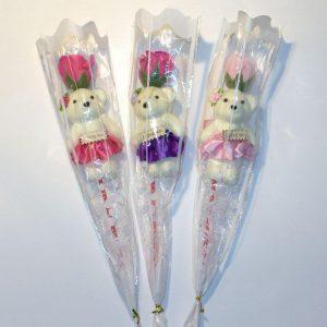 Искусственные цветы Мишка с розой