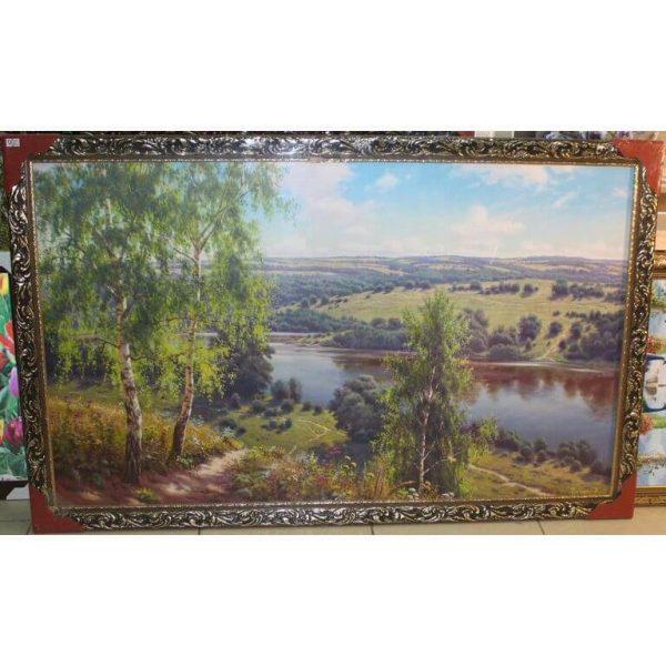 Картина (репродукция) Берёзы над рекой