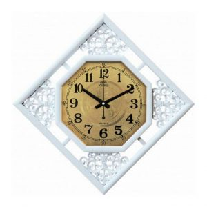 Часы настенные World ромб бело-золотистый