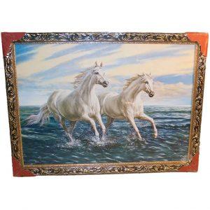 Картина (репродукция) Пара белых лошадей
