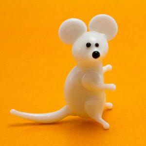 Статуэтка из стекла Мышь белая