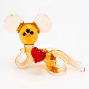 Статуэтка из стекла Мышь сердечко фото 1