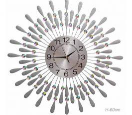 'Часы настенные Перья павлина серебро 60 см