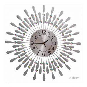 Часы настенные Перья павлина серебро