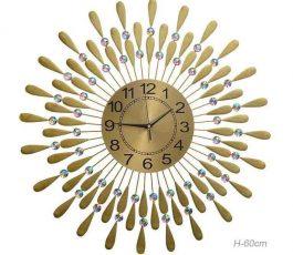 'Часы настенные Перья павлина золото 60 см