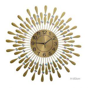 Часы настенные Перья павлина золото