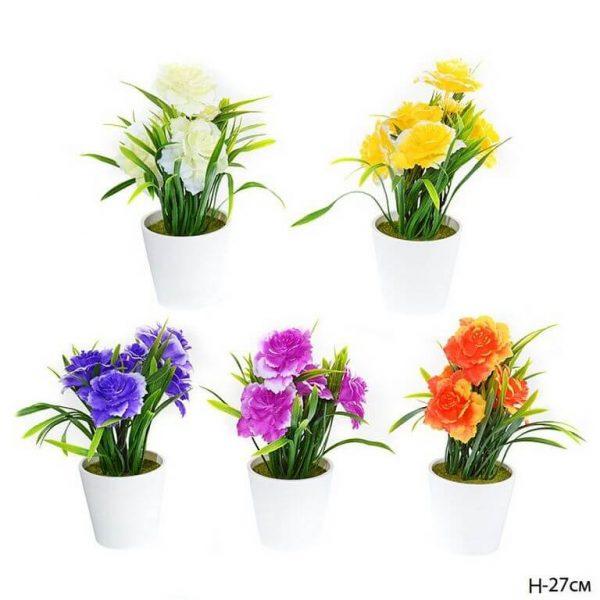 Искусственные цветы в горшке