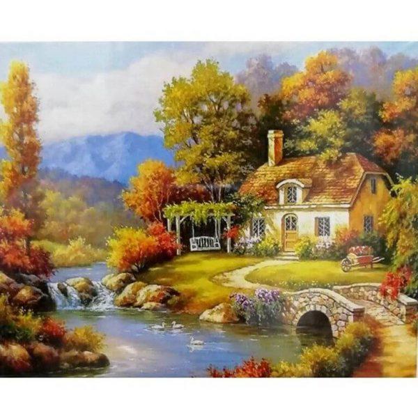 Картина по номерам Речка у дома