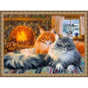 Картина (репродукция) Кошки у камина