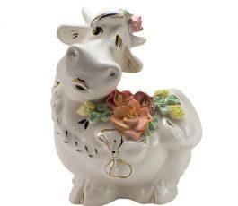 Копилка Корова цветы 19 см
