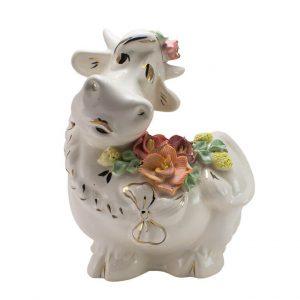 Копилка Корова цветы